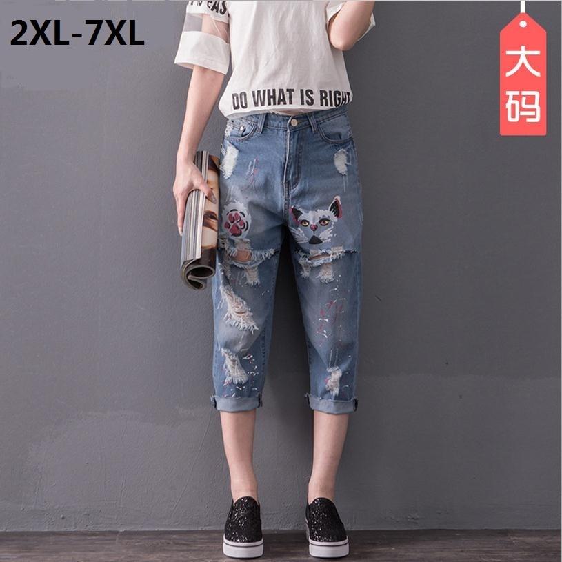 ФОТО 2XL-8XL  plus size printed cotton Calf-Length Pants 2017 new fashion women 's stiching bleached hole jeans w1498 free shipping