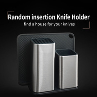 XYj 6'' 8'' Stainless Steel Kitchen Knife Stand Large Capacity For Scissors Knife Sharpener Kitchen Block Tool Knife Seat Holder