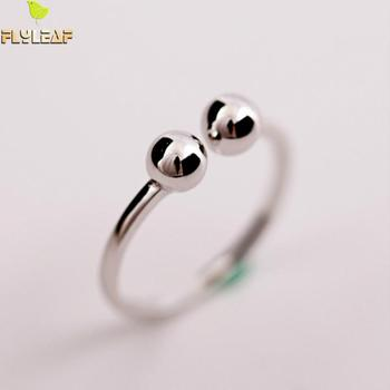 Flyleaf 2020 Double Beads Open Rings For Women High Quality Fashion Lady 925 Sterling Silver Jewelry flyleaf 925 sterling silver rings for women high quality simple cross weave fashion open ring vintage femme fine jewelry gif