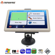 TOPSOURCE 7 inch Car GPS Navigation Capacitive screen FM 8GB WinCE 6.0 Map For Russia/Europe/USA/Canada Truck gps Navigator