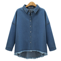 New Fashion Women Autumn Turn Down Collar Vintage Denim Blue Jean Look Long Sleeve Casual Tops