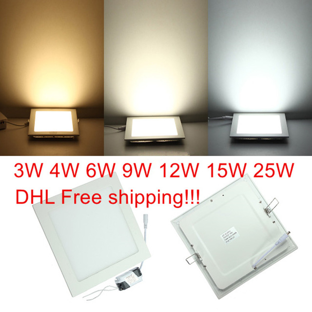 20pcs LED Ceiling Light 3W 4W 6W 9W 12W 15W 25W Square LED Panel Light with