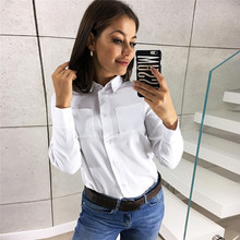 цена на 8 Colors Plus Size Turn Down Collar Press Buttoned Workwear Tops Office Ladies Long Sleeve Slim 2019 Women Autumn Casual T-shirt