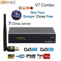 V7 Combo Suporte PowerVu Receptor de Satélite DVB S2 + T2 DVB Biss chave Newcm Youtube + 1 ano Clines USB Wifi Set Top Box v7 combo