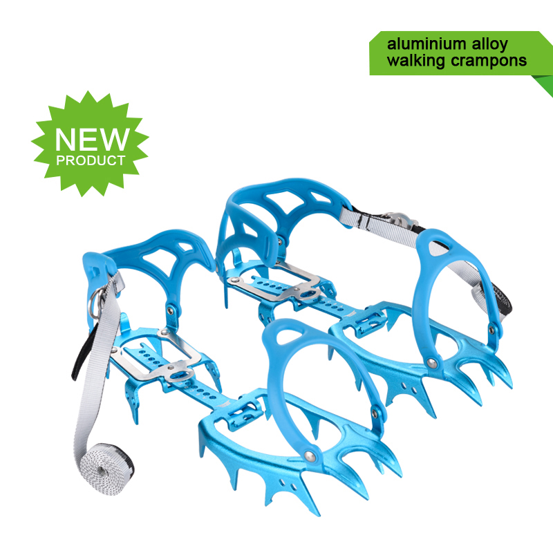NEW!Ultralight aluminium alloy fourteen teeth bundled crampons ice gripper mountaineering equipment  climbing gear hiking boots round snow ice climbing mountaineering shoes crampons orange pair