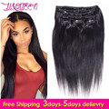 7A Full Head Clips In Straight Hair Clip In Human Hair Extensions 10pieces/set Brazilian Virgin Hair Clip in Extensions Straight