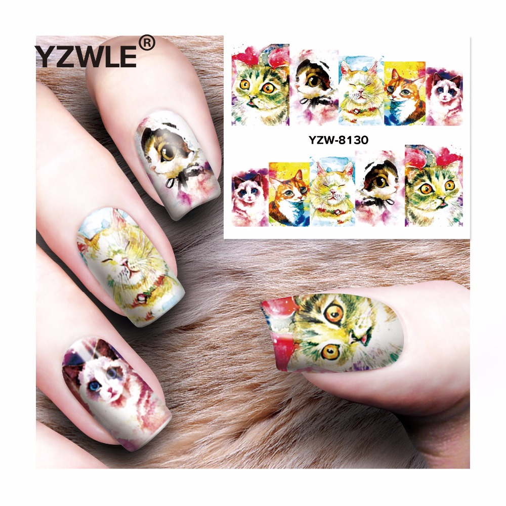 YZWLE 1 Sheet DIY Decals Nails Art Water Transfer Printing Stickers Accessories For Manicure Salon  YZW-8130 yzwle 1 sheet hot gold 3d nail art stickers diy nail decorations decals foils wraps manicure styling tools yzw 6015