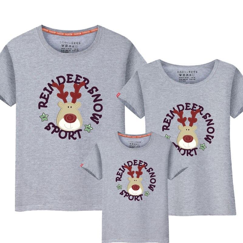 1Piece Family Look T-shirt 2017 Cartoon Snow Deer matka Maminka a já Dcera Otec Dětské oblečení Odpovídající sady rodinných oděvů