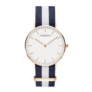 XINBOQIN Brand Neutral Designer Colorful Stripe Canvas Watches Men Quartz Wrist watch Nylon Watch Fashion Simple 2 Hands Relojes