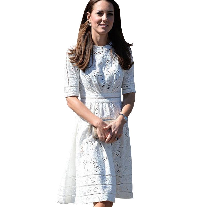 Top qualité 2019 Kate Middleton robe Slim ordinateur découpe Jacquard robe pompage coton été robe blanche tenue décontractée CL044