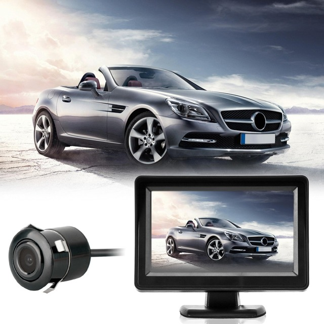 """4.3"""" Digital Car Rear View Rearview Camera with Monitor TFT LCD Automobiles Monitor Night Vision Reverse Back up Cam DC 12V-24V"""