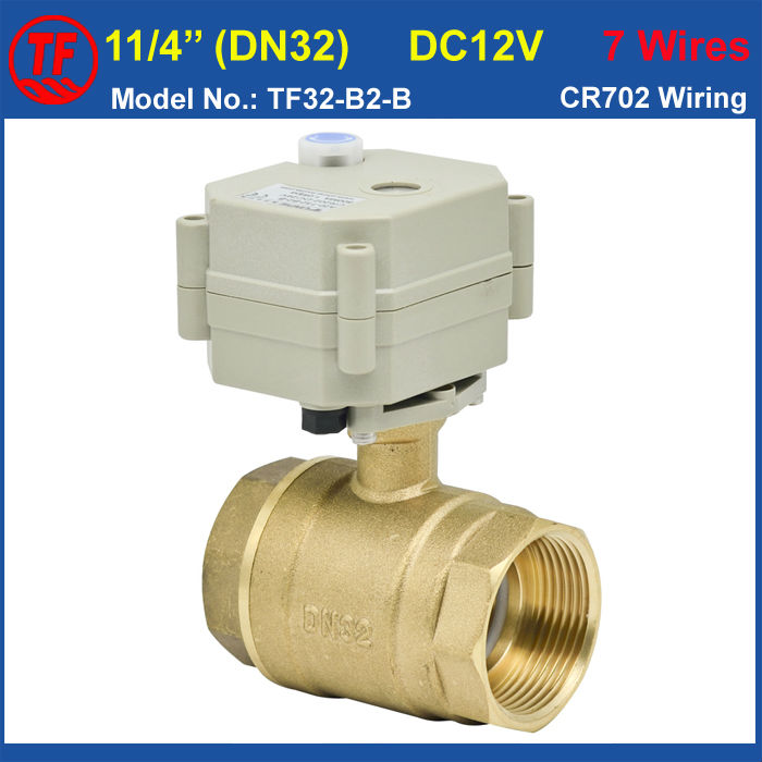 TF Valve TF32-B2-B High Quality Brass DN32 11/4'' Electric Motorized Valve With Manual Override DC12V 7 Wires 29mm Bore CE,IP67 high quality hydraulic valve cvi 32 d10 h 40