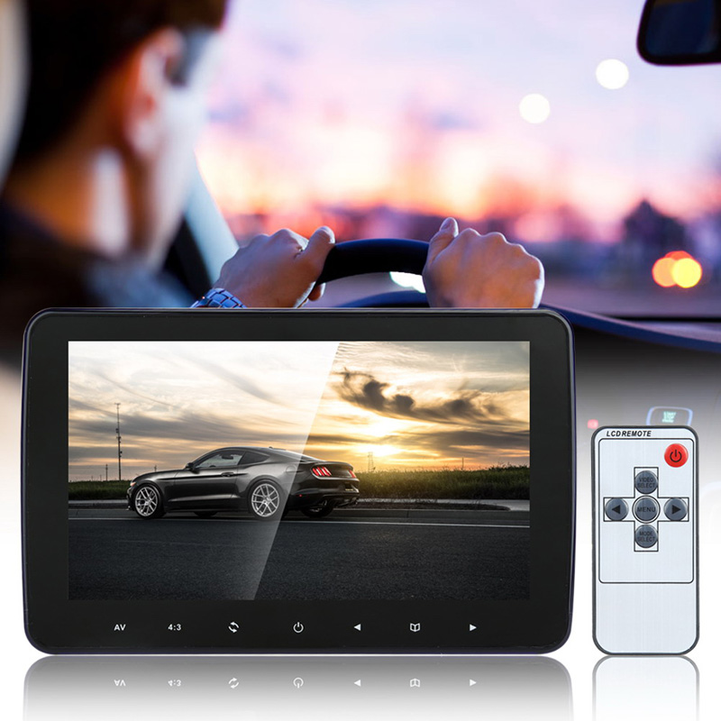 10 Universal Automobiles Monitor 7W 1024*600 HD Digital LCD Screen Car Headrest Monitor with Remote Controller car headrest dvd player pupug beige universal digital screen zipper car monitor usb fm tv game ir remote control two headphones
