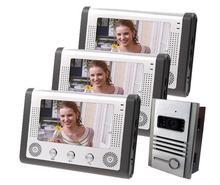 """Freeship teléfono video de la puerta con 7 """"pantalla LCD IR cámara estenopeica cámara visiophone Video Portero puerta de intercomunicación a prueba de agua"""