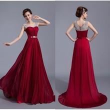 dd7018765 Nueva Moda Elegante Vestidos de Baile Una Línea de Piso-Longitud de Novia Sin  Mangas con Rebordear Gasa Pary Vestidos ZY072