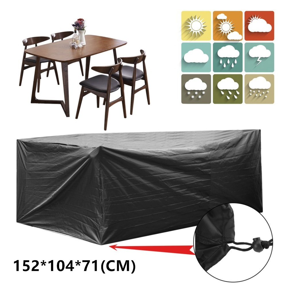 308*138*93cm Antidust Waterproof Heat Resistance Sun Protective 210D Oxford Cloth Garden Patio Coffee Table Desk Cover