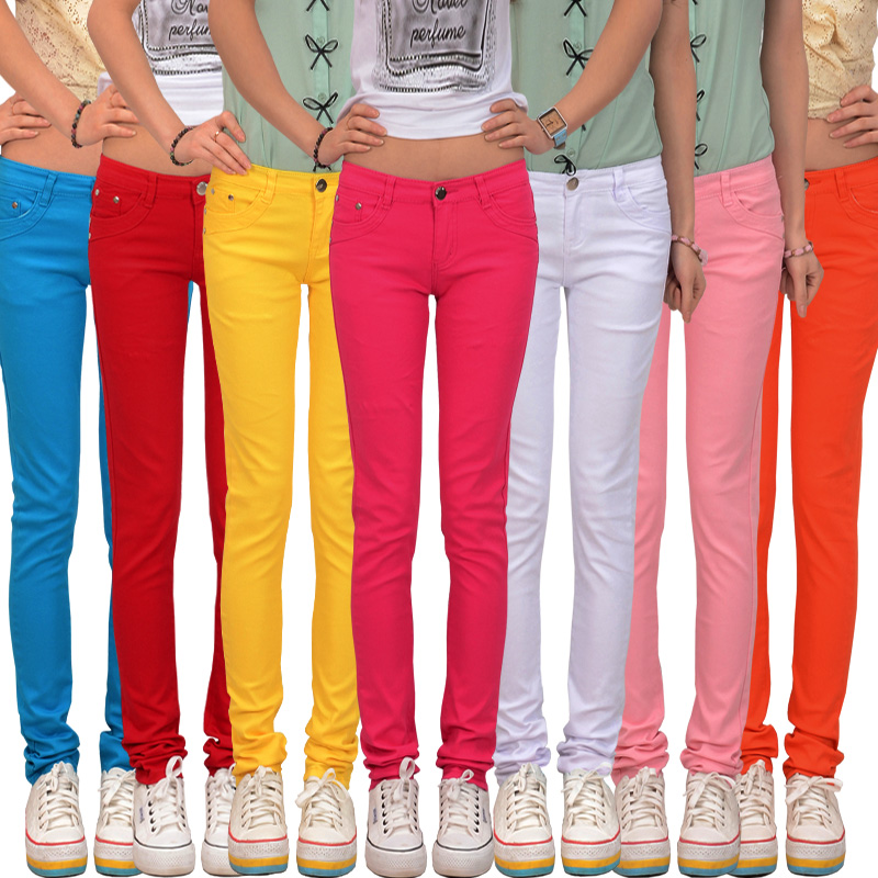 2017 spring women's candy colored pencil pants 100% cotton ...