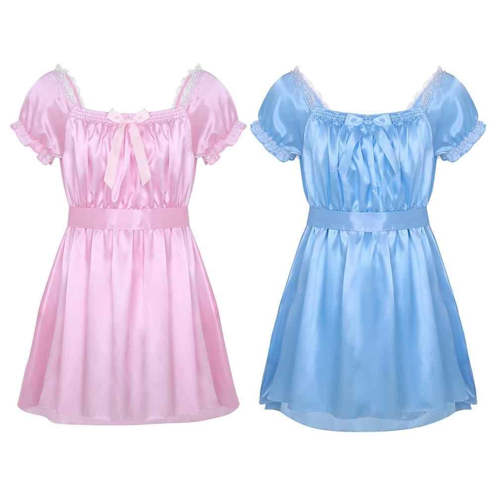 Nam Ẻo Lả Quần Lót Ẻo Lả Đầm Dành Cho Nam Sáng Bóng Satin Mềm Mại Cao Cấp Thấp Túi Đeo Chéo Nữ Đồ Lót Kèm Tất Váy Ngủ Đồng Tính Quần Lót