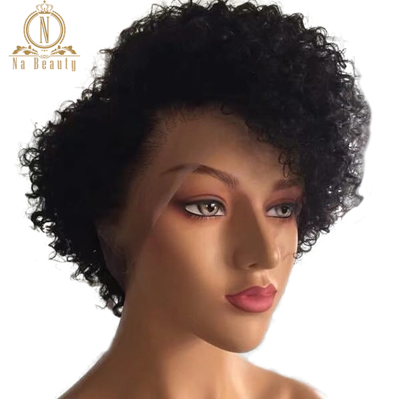 180 Density Kinky Curly Short Bob Wig 13x4 /13x6 Lace Front Human Hair Wigs Preplucked Remy Hair Front Lace Wigs Black For Women