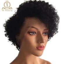 Densidade 180 Bizarro Encaracolado Peruca Curta Bob 13x4/Pré depenado 13x6 Parte Dianteira Do Laço perucas De Cabelo humano remy Rendas Frente Perucas de Cabelo Preto Para As Mulheres