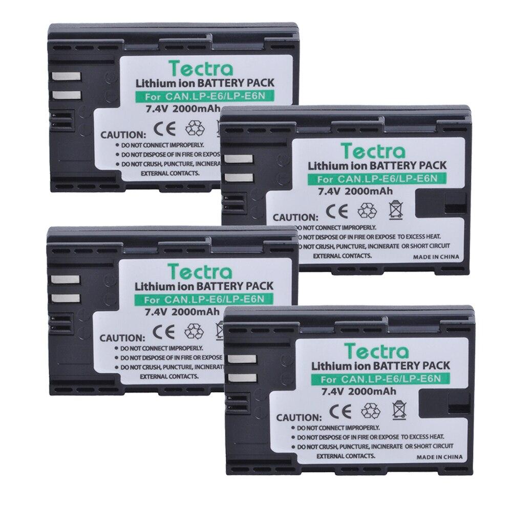 Tectra 4PCS LP E6 LP E6N LPE6 LPE6N Battery for Canon EOS 5D 5D2 5DS R