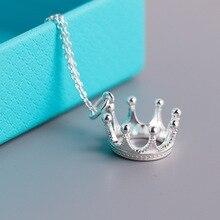 S925 colar de prata esterlina, pingente estilo coroa aristocrática. Presentes da jóia das senhoras do vintage da forma livre