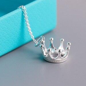 Image 1 - S925 colar de prata esterlina, pingente estilo coroa aristocrática. Presentes da jóia das senhoras do vintage da forma livre