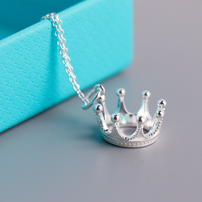 TIF S925 Sterling Silver Necklace, Aristocratic Crown Styling Pendant. Fashion Vintage Ladies Jewelry Gifts Free