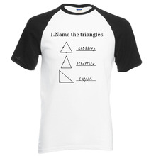 new arrival adult science shirt Name The Triangles letters print raglan tees 2016 new summer 100% cotton fashion t shirt S-2XL