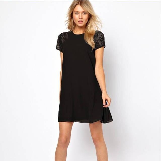 f7bd7c86379 placeholder Весна Лето Платье женское с коротким рукавом белый черный  сексуальный Сладкий кружевной рукав шифоновое платье Вечерние