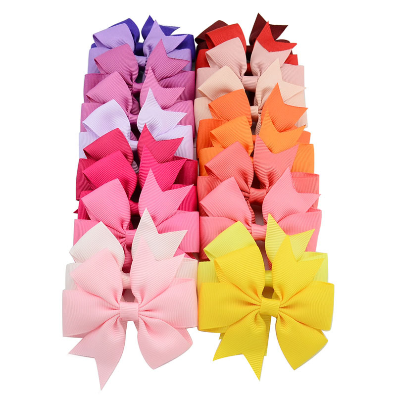 Lovely 40pcs 40 Colors Ribbon Bows Clips Hairpin Girl's hair bows  BC99