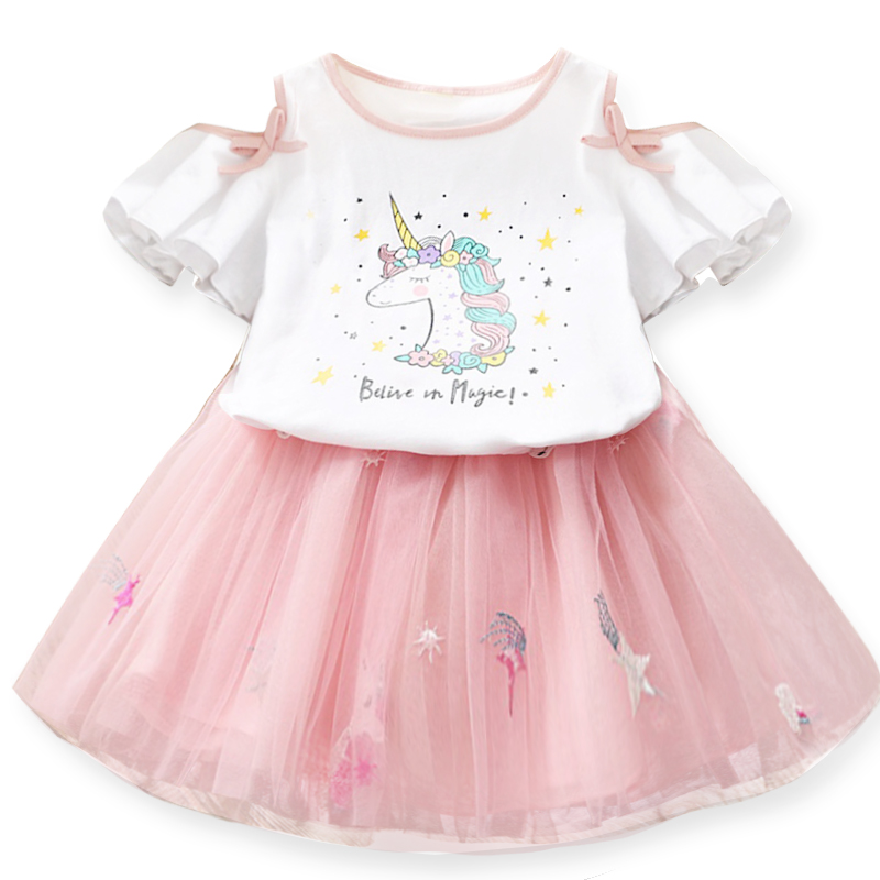 Girls 2019 Baby Girls Clothing Sets Unicorn T-Shirts Fluffy Skirt 2Pcs Outfits Little Girls Clothes Children Clothing Suits 2-7T
