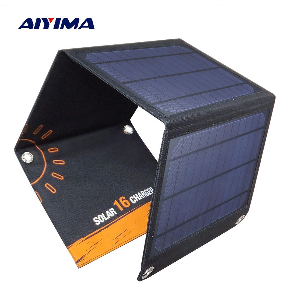 AIYIMA 16W Solar Panels Portable Folding Foldable Waterproof Solar Panel Charger Power Bank for Phone Battery Charger 2018 sunpower 21w solar panels portable folding foldable waterproof solar panel charger power bank for phone battery charger