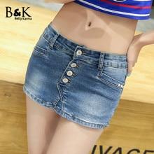 BettyKarma Sexy Summer Denim Shorts Women Fashion Vintage Button Closure Cotton Elastic Push Up Jeans Shorts