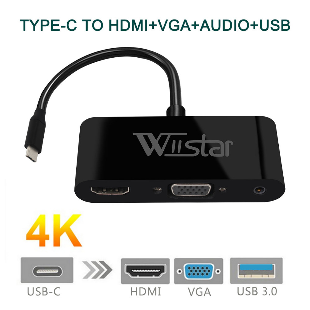 Wiistar USB C To HDMI VGA 3.5mm Adapter Type C To VGA HDMI 4K For Huawei Mate 10 Pro P20 Samsung Galaxy S8/8+