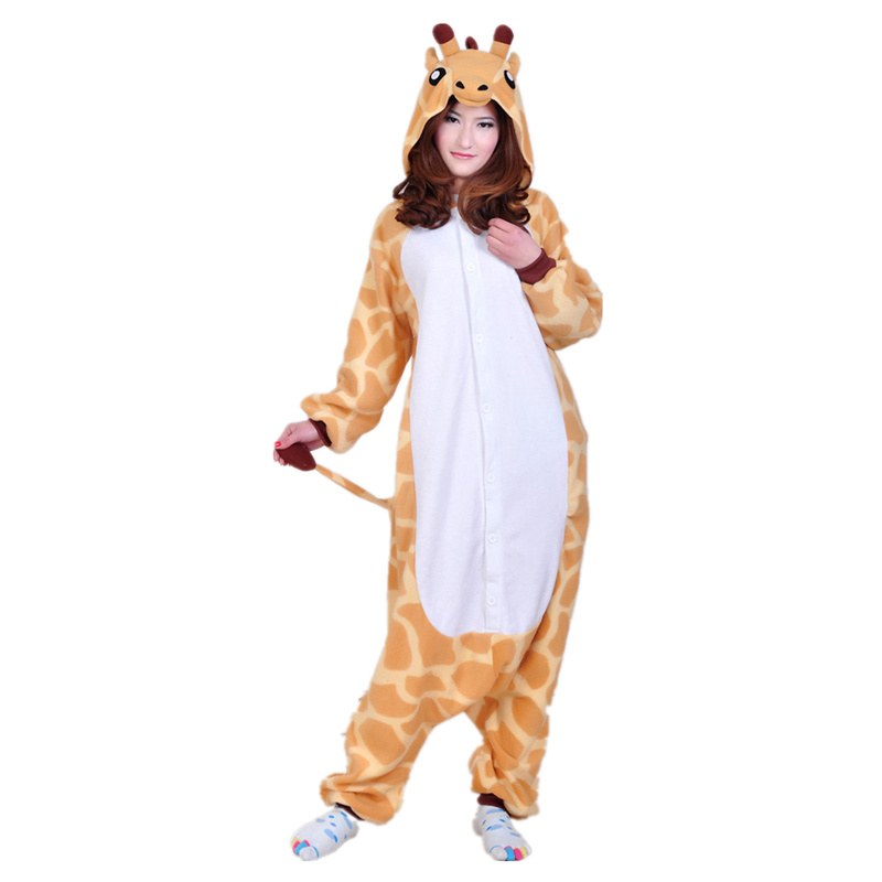 doubla adults womens mens yellow giraffe costume pajama