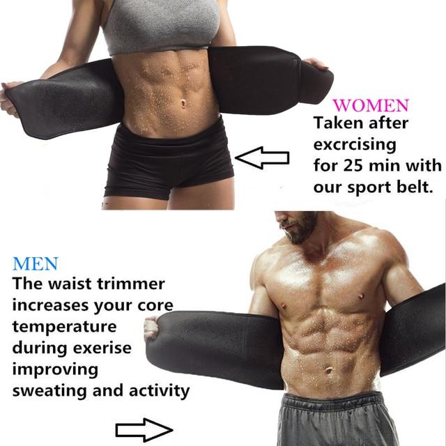 Waist Trimmer Sweat Belt Weight Loss Waist Trainer Slimming Belt for Men and Women Fat Burner Low Back Support Mens Shaper 2