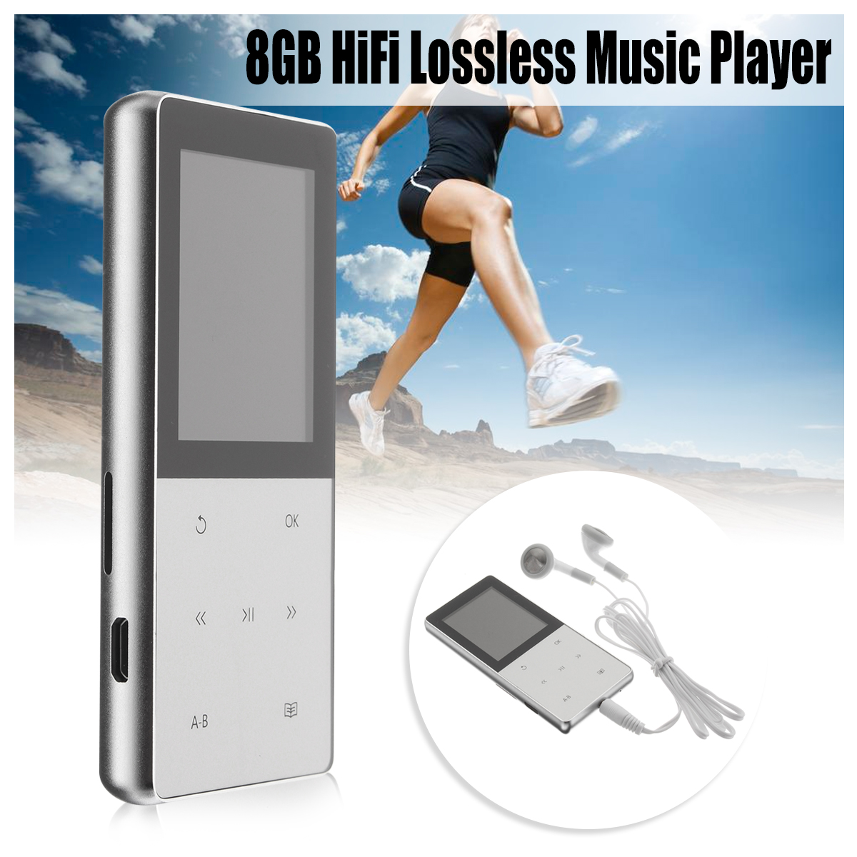 1.8 inch Sport MP3 Player HiFi Lossless Music Player Portable Audio 8GB A6 TFT LED HiFi Screen FM USB SD with Earphone