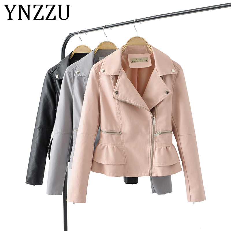 YNZZU Ruffles Elegant Women Faux   Leather   Jacket Coat 2019 Autumn New Design Slim Zippers Female Jacket Outwears Plus Size A1018