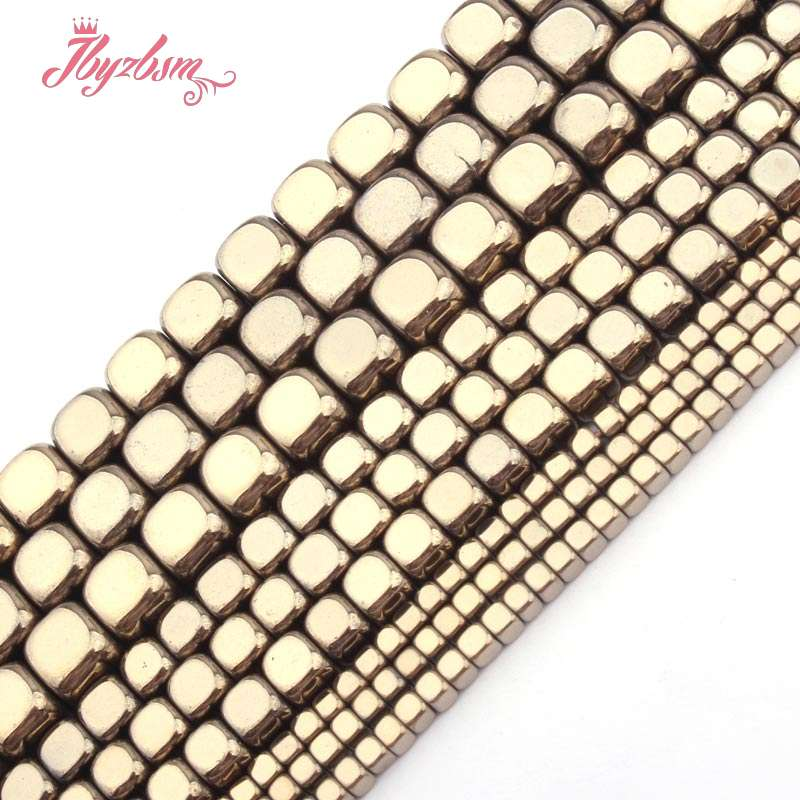 Beads & Jewelry Making 2,3,4,6mm Cube Light Gold Hematite Beads Natural Stone Beads For Necklace Bracelets Earring Jewelry Making 15 Free Shipping Pretty And Colorful