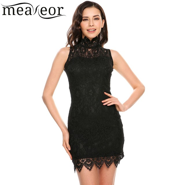 030d97f971d4 Meaneor Elegant Lace Dress 2018 New Women Lace Hollow Out Summer Dresses  Sleeveless Stand Collar Party Wedding Bodycon Vestidos