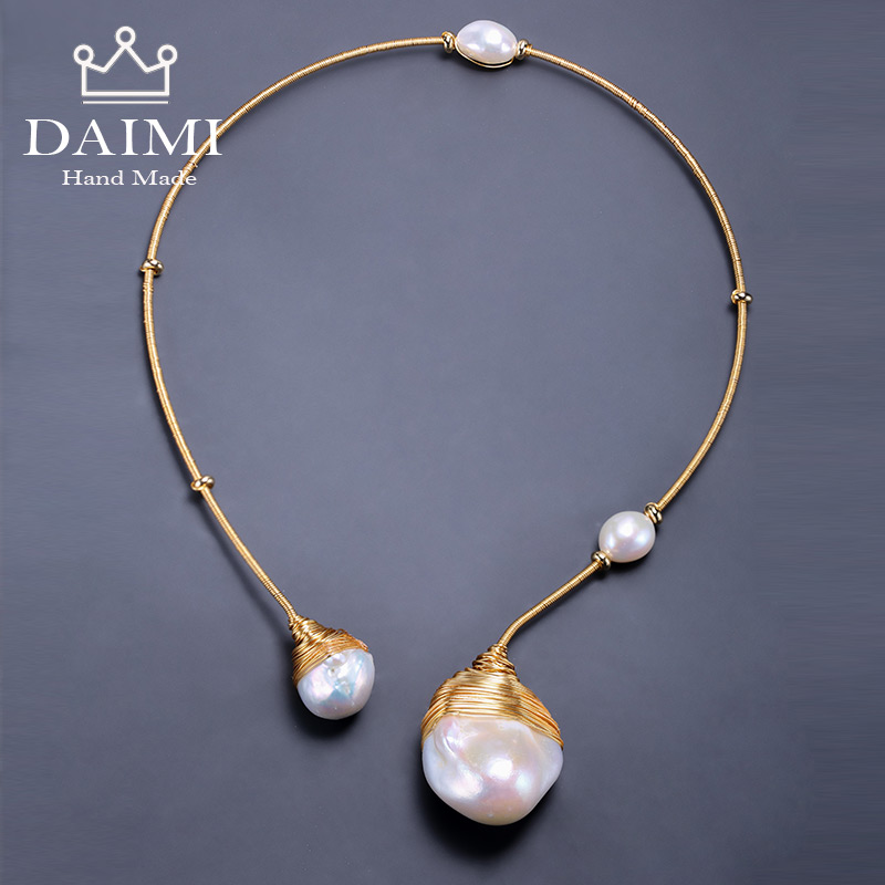 DAIMI Gold & Pearl ปลอกคอเครื่องประดับ Designs Baroque Pearl สร้อยคอ 41 43 เซนติเมตร Choker Torques สไตล์ใหม่-ใน สร้อยคอ จาก อัญมณีและเครื่องประดับ บน   1