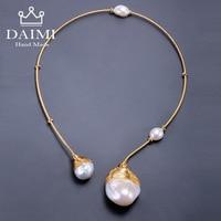 DAIMI Gold & Pearl Collar Unique Luxury Jewelry Designs Baroque Pearl Necklace 41 43cm Choker Torques New Style