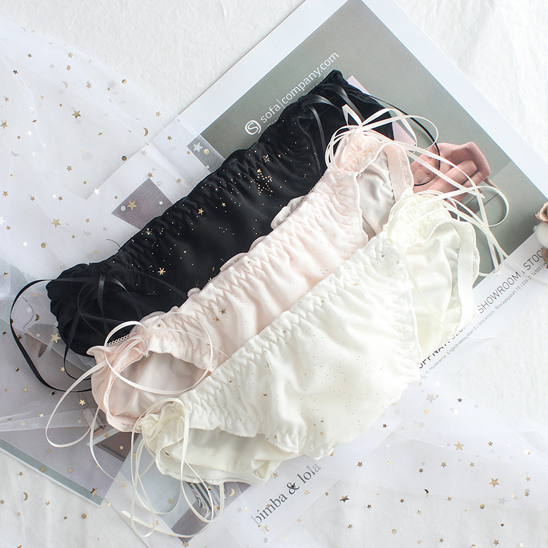 SP&CITY Japan Style Lace Up Sweet Shiny Girls Panties Princess Ruffle Cute Seamless Briefs Kawaii Cotton Sexy Underwear Lingerie