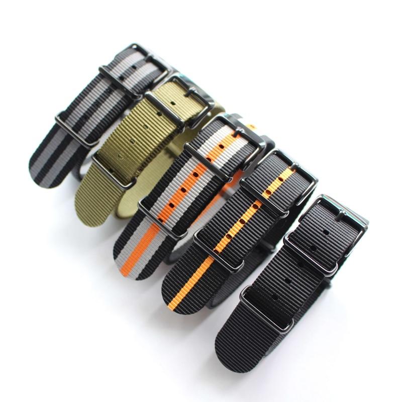 цена на New type Upscale duty nylon straps 20mm 22mm Nylon Watch band for NATO strap for zulu strap watch strap silver black ring buckle