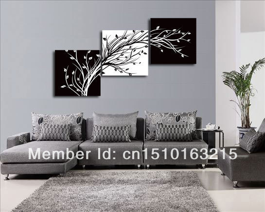 3pieces Modern Abstract Huge Wall Art Oil Painting On: Handpainted 3 Piece Black White Modern Abstract Oil