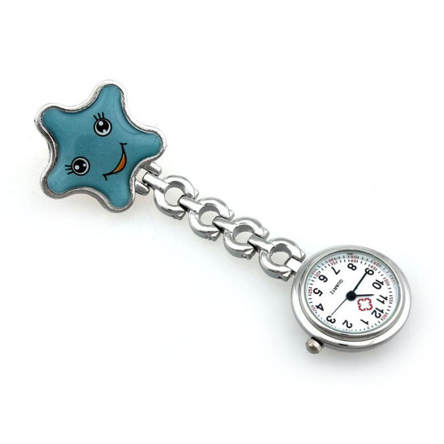 Timezone#301 Women Lady starfish Heart Quartz Clip-on Fob Brooch Nurse Pocket Watch Free Shipping
