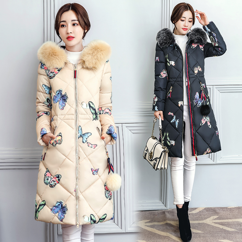 Woman Winter Coats And Jackets 2017 New Slim Hooded Printing Long Overcoat Women's Cotton-padded Jacket Plus Size Parka