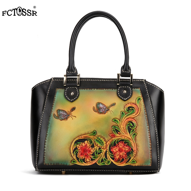 New Tote Chinese Vintage 2019 Fashion Genuine Leather National Style Lady Top handle Bag Animal Print Zipper Women Shoulder Bag