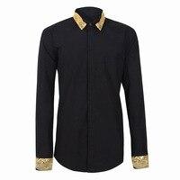 Men Clothes 2018 New Collar Sleeves Needles Gold Silk Cloud Embroidered Men's Shirt Camisa Masculina Camisa Social Masculina